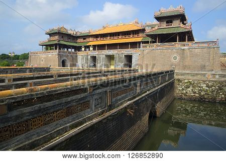 HUE, VIETNAM - JANUARY 08, 2016: The gate (Cam Thanh), the Imperial Forbidden Purple city. Historical landmark of the city Hue, Vietnam