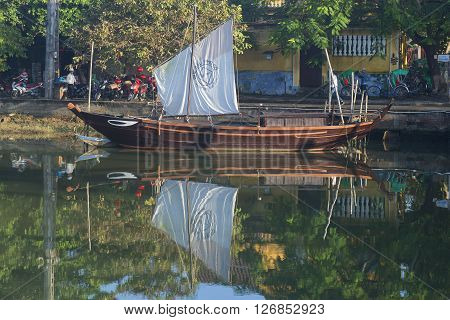 HOI AN, VIETNAM - JANUARY 04, 2016: Replica of ancient junks. Tourist  landmark of the Hoi An, Vietnam