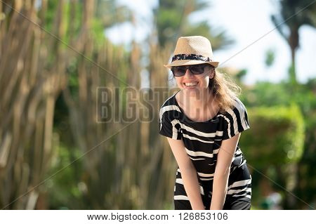 Young Woman On Tropical Resort Street