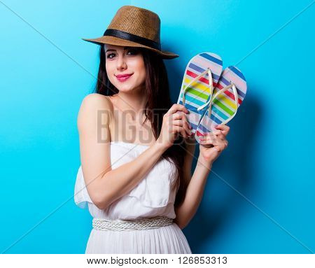 Portrait Of The Young Woman With Sandals