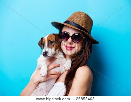 Portrait Of The Young Woman With Dog