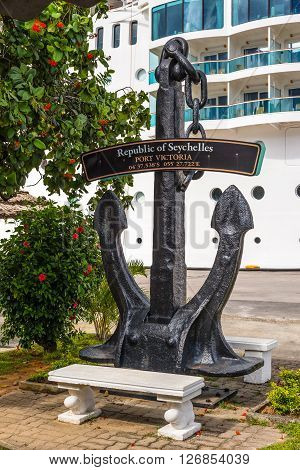 Victoria Mahe Island Seychelles - December 15 2015: Black anchor memorial sign