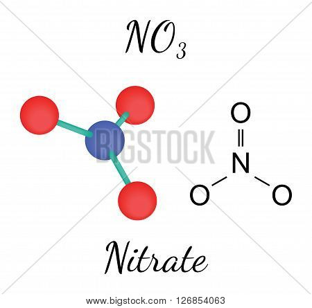 NO3 nitrate 3d molecule isolated on white