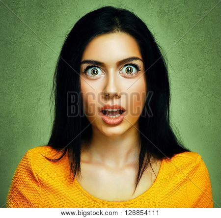 Surprised face of amazed shocked young woman