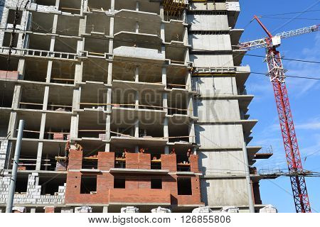 Russia, Yaroslavl-March 29.2016. Construction of a multi-storey residential building