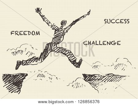 Hand drawn vector illustration, silhouette of a man jumping over the gap, sketch
