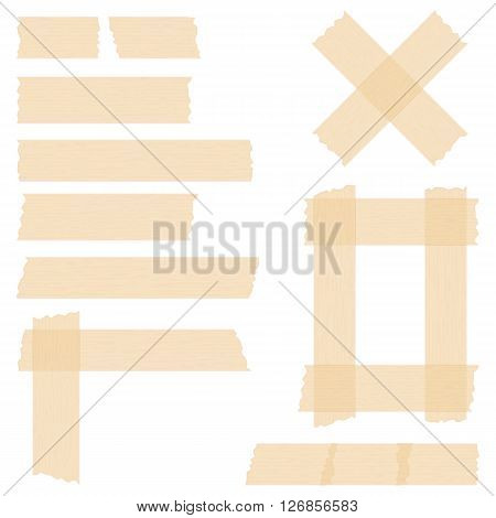 Pieces of transparent adhesive tape on white background, sticky tape, vector eps10 illustration