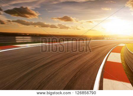 Motion blurred race track golden hour mood