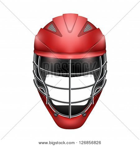 Red Lacrosse Helmet Front View. Sport goods and equipment.  Illustration isolated on white background.