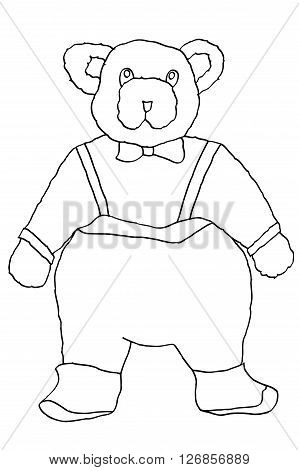Monochrome vector hand drawn bear illustration. Isolated on white