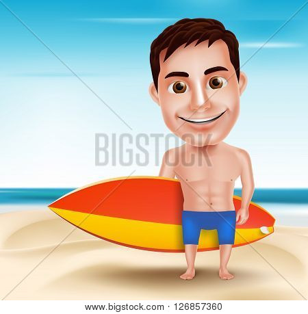Smiling Handsome Surfer Man Vector Character Holding Surfboard for Outdoor Surfing with Beach Background. Vector Illustration