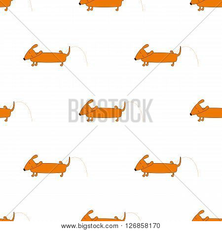 Seamless pattern with repeating orange colored brown contoured dachshund isolated on white background. Cute pissing dog character