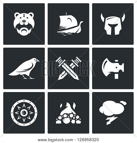Barbarian, Drakkar, Helmet, Raven, Crossed Swords, Ax, Shield, Fire, Lightning
