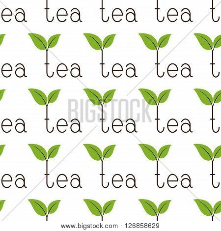 Seamless background with repeating brown colored lettering tea with two green leaves on brown branches over letter t isolated on white background