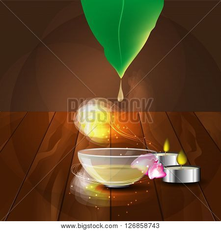 the concept of aromatherapy and massage with image of plate with massage oil candles and rose petals