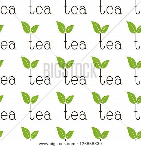 Seamless background with repeating brown colored lettering tea with two green leaves over letter t isolated on white background