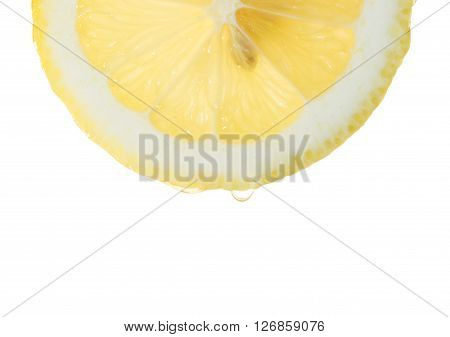 fresh lemon slice with a juicy drop on a white background ** Note: Soft Focus at 100%, best at smaller sizes