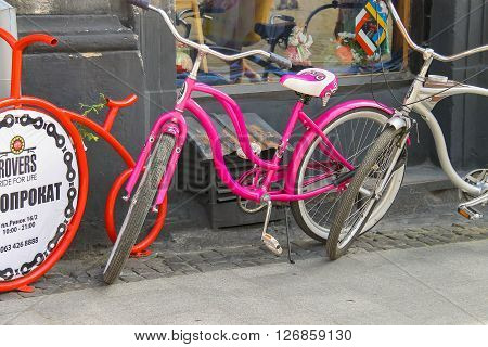 Lviv Ukraine - July 5 2014: Bicycles for rent on street in the Old Town of Lviv
