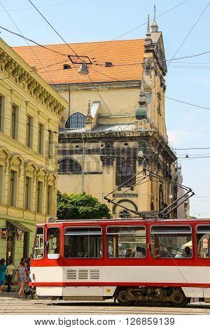 Lviv Ukraine - July 5 2014: Modern tram in historic city center. Lviv historic city center is on the UNESCO World Heritage List