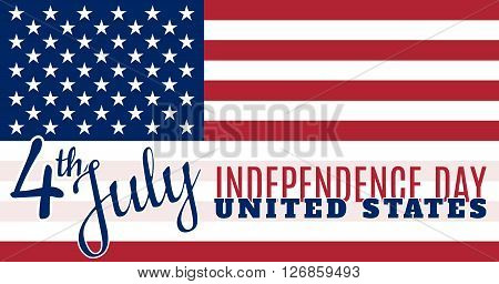 Vintage card design for fourth of July Independence Day USA. Designed in traditional american flag colors, typical american type and stars. Patriotic series, main celebration of USA