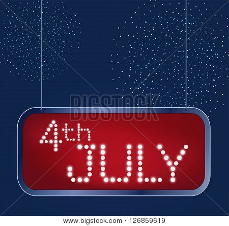 Design for fourth of July Independence Day USA. Maked in traditional american flag colors with abstract firework, stars and retro lightbulbs type inside of shining retro billdoard. Patriotic series