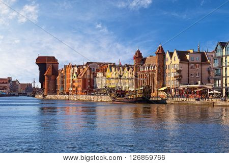 View of the riverside on Old Town by the Motlawa river in Gdansk Poland.