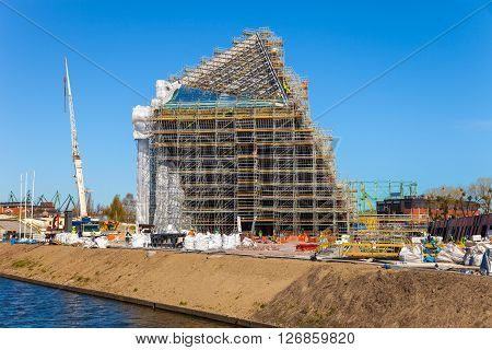 GDANSK, POLAND - APRIL 21, 2016: Photo from the construction site building a museum of World War II in Gdansk.