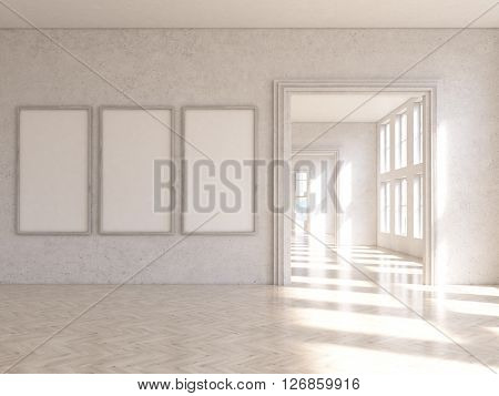 Interior design with three blank picture frames and archway. Mock up 3D Rendering