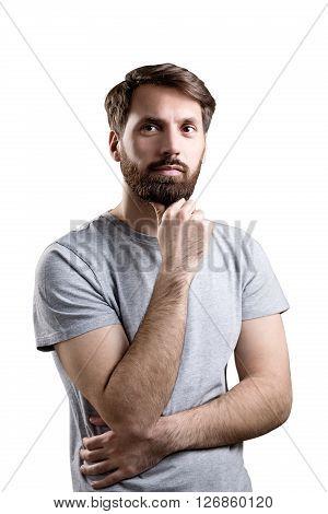 Hand At Chin White Background
