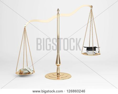 Corruption concept with cash and judge's hat on justice scales. 3D Rendering