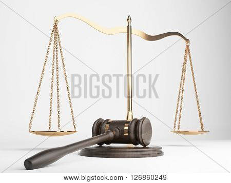 Golden justice scales and hardwood gavel on light background. 3D Rendering