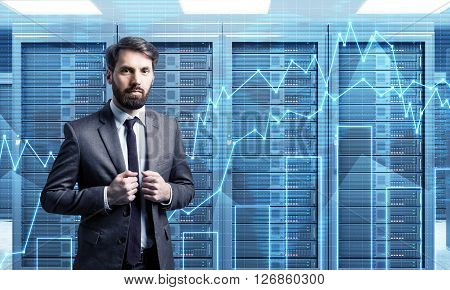 Businessman with forex chart in the background