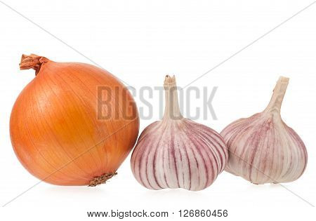 Garlic bulbs with golden onion isolated on white background