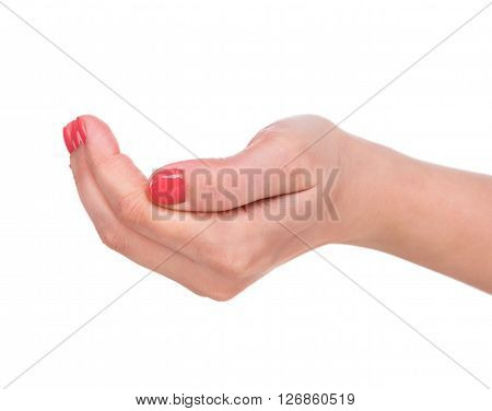 Young female hand isolated over white background