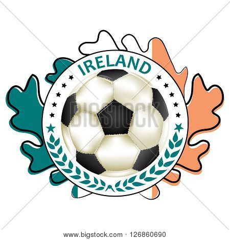 Printable Ireland football team label.  Ireland football national team sign, containing a soccer ball and the Irish flag. Print colors used
