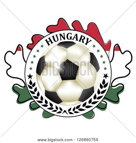 Printable Hungary football team label.  Hungary football national team sign, containing a soccer ball and the Hungarian flag. Print colors used