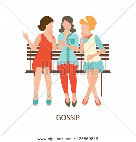 Cartoon character of women gossiping women talking women chatting gossip girl gossip old woman people cheering whisper office gossip secretconceptual vector illustration.