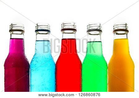 close up the cool colorful drink in glass bottle