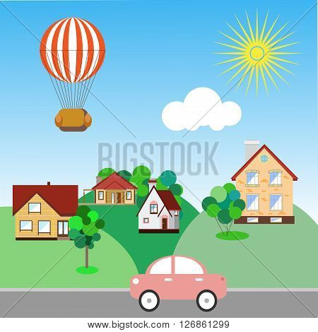 A balloon flies over houses. Concept in flat style