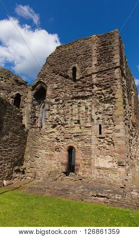 Monmouth castle Wales uk ruins of historic Welsh tourist attraction Wye Valley