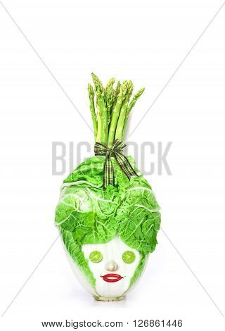 The fresh chinese cabbage which look like human head on a white background