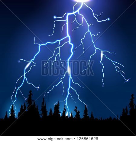 Lightning on the horizon at night in the woods