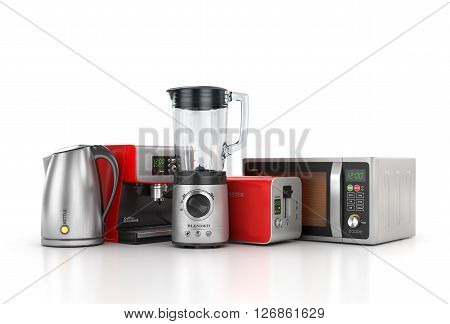 Kitchen appliances. Blender toaster coffee machine kettle and microwave isolated on white background. 3d illustration