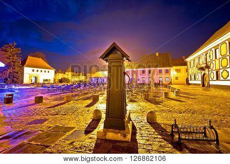Varazdin baroque architecture square evening view northern Croatia