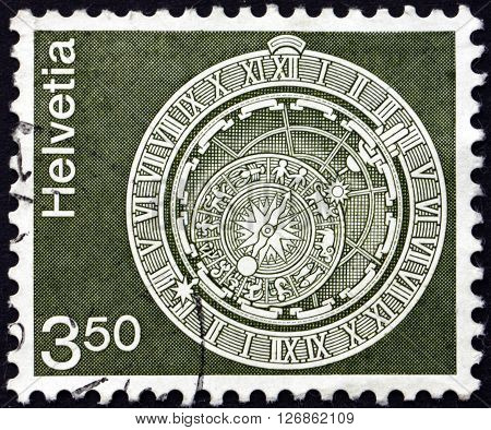 SWITZERLAND - CIRCA 1980: a stamp printed in the Switzerland shows Astronomical Clock Bern Clock Tower circa 1980
