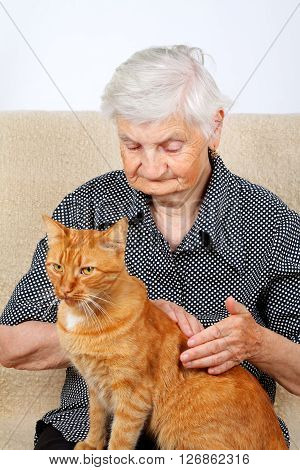 An old lady petting her beautiful cat