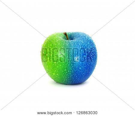 Half and half green blue fresh apple with water droplet , change or modified concept