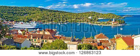 Harbor of Vis island panorama Dalmatia Croatia