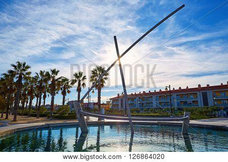 Valencia La Malvarrosa boat statue fountain at Spain