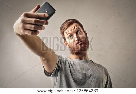 Weird man doing a selfie